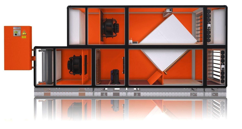 Приточно-вытяжная установка с рекуперацией тепла и встроенным осушителем воздуха Menerga