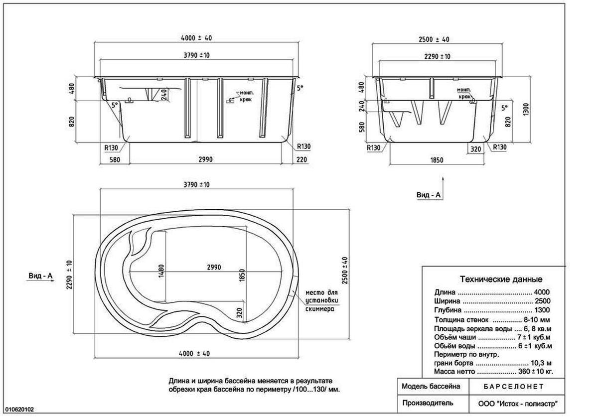 Схема каркасного бассейна