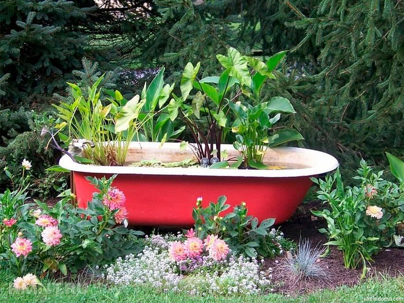 Креативное применение старой ванной на даче