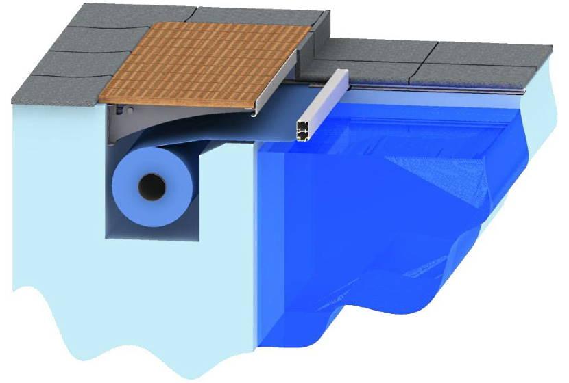 Защитная плёнка в нише под бассейном