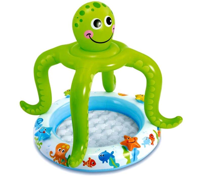 Малышам понравятся яркие модели с навесом в виде осьминога