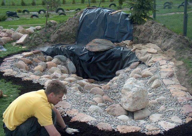 декорирование водопада камнями