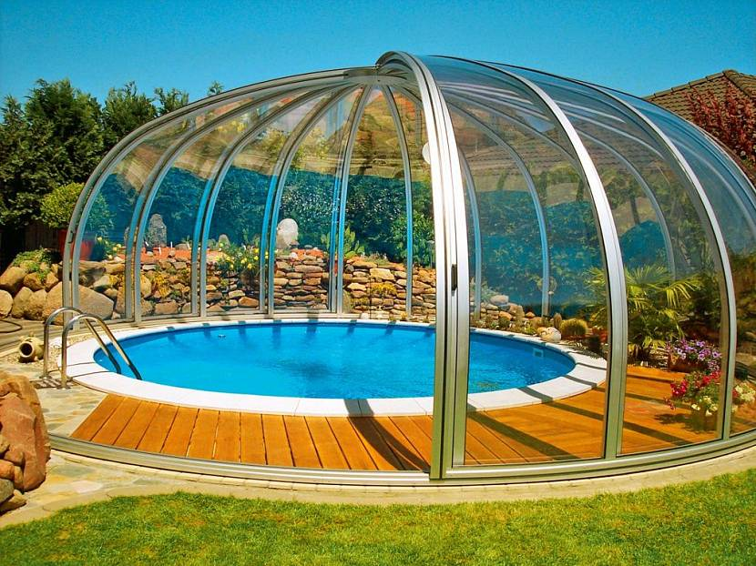 навес для бассейна на даче