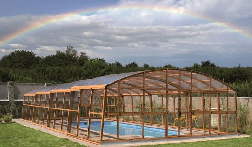 крыша над бассейном из поликарбоната