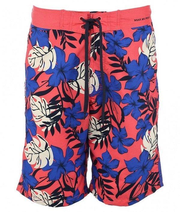 красные шорты в синий цветок бренда Blend