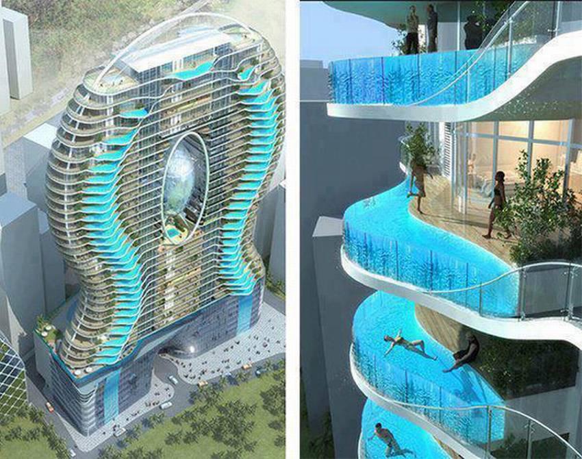 Дом с бассейнам на балконах