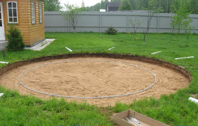 Площадка, засыпанная песком